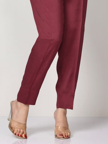 Raw Silk Trousers - Maroon