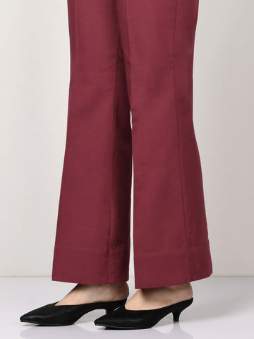 Raw Silk Pants - Maroon