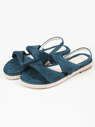 Twisted Suede Sandals - Dark Ferozi