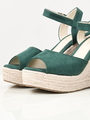 Suede Weave Wedges - Green