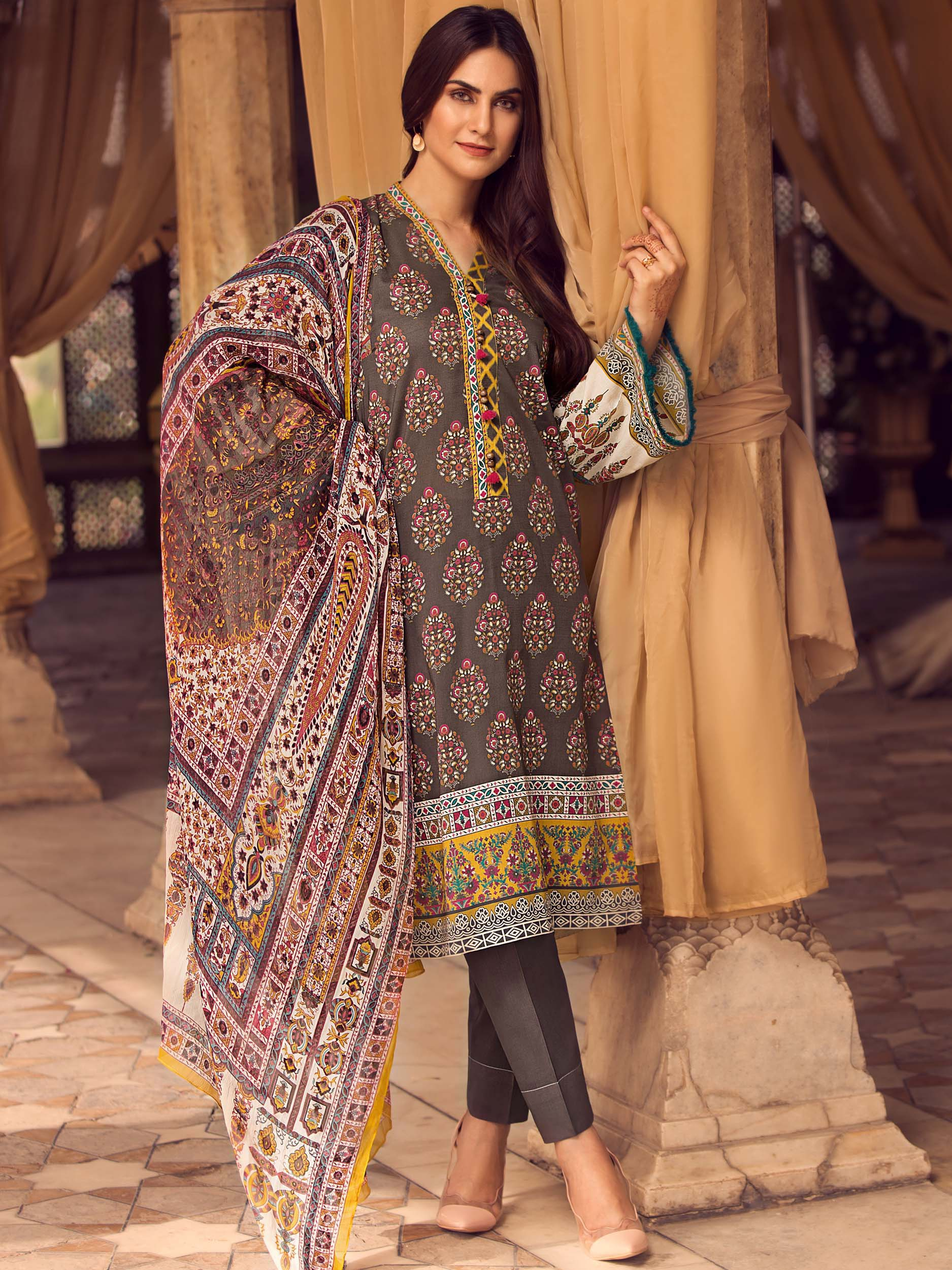 3-Pc Slub Lawn Suit