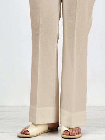 Unstitched Winter Cotton Trouser - Light Beige