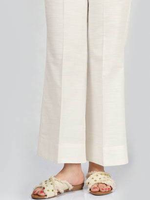 Unstitched Khaddar Trouser - White