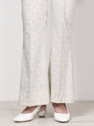 Unstitched Printed Winter Trouser - Cream