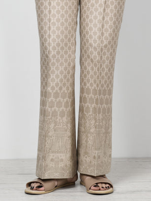 Unstitched Printed Winter Trouser - Beige