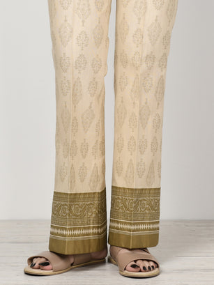 Unstitched Printed Khaddar Trouser - Beige