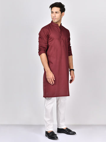 Jacquard Kurta-Red