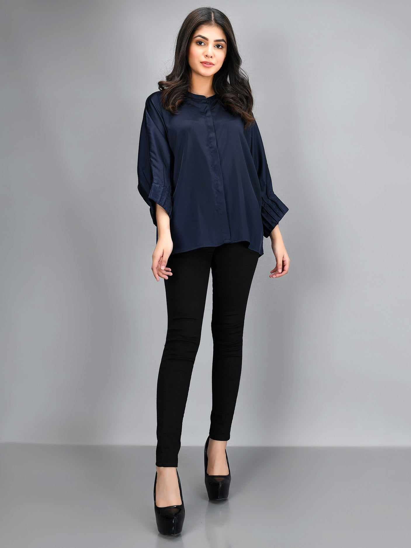 Pleated Silk Top - Navy Blue