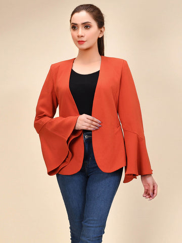 Flared Sleeved Coat - Orange
