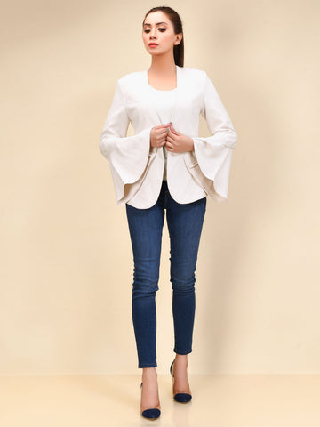 Flared Sleeved Coat - Off White