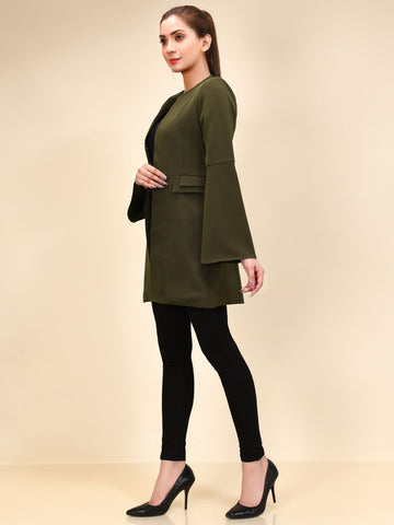 Bell Sleeved Coat - Army Green