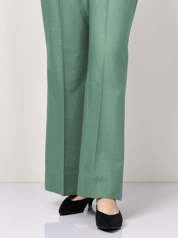 Unstitched Slub Khaddar Trouser - Tea Green