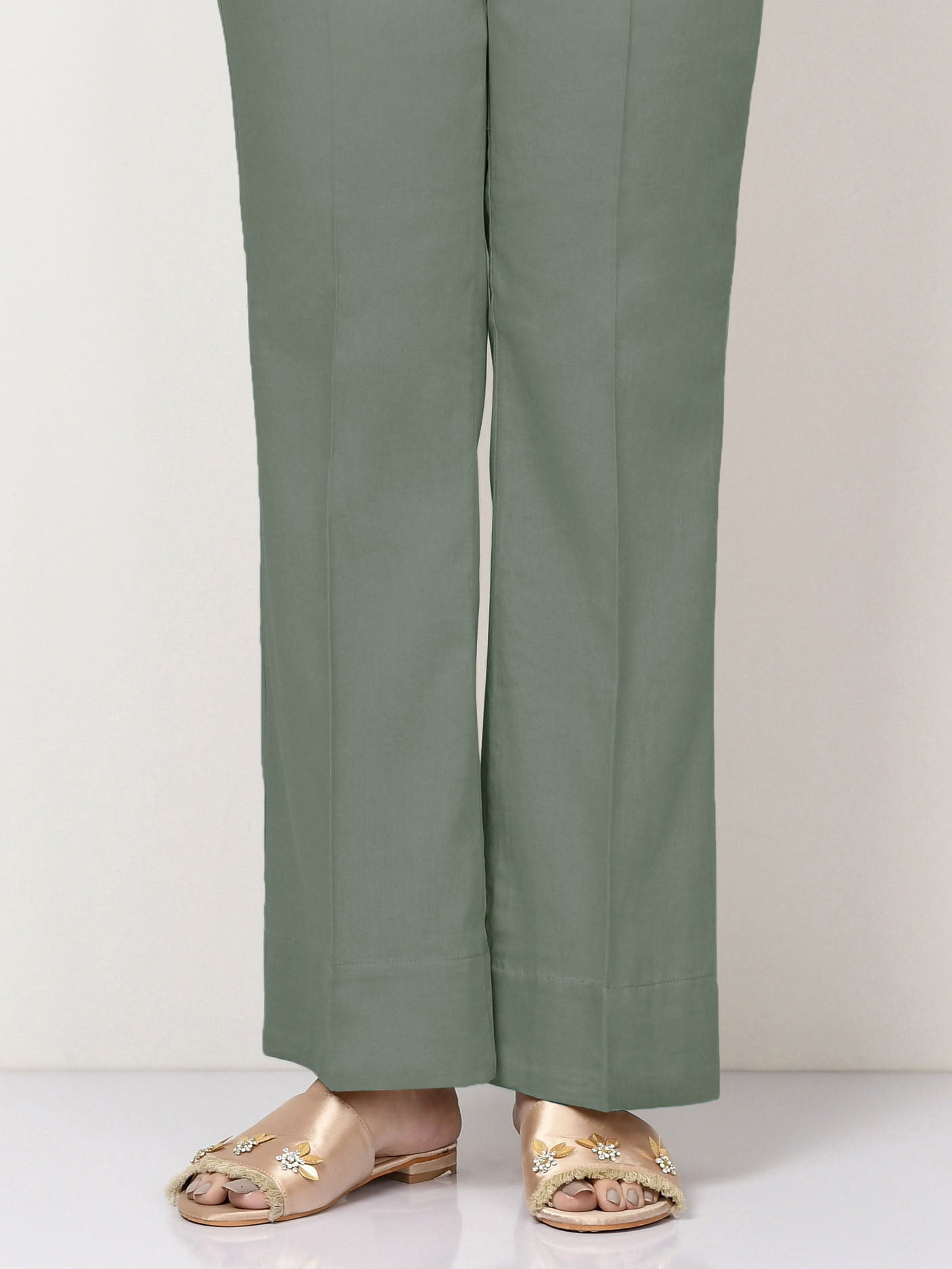 Unstitched Cambric Trouser - Tea Green