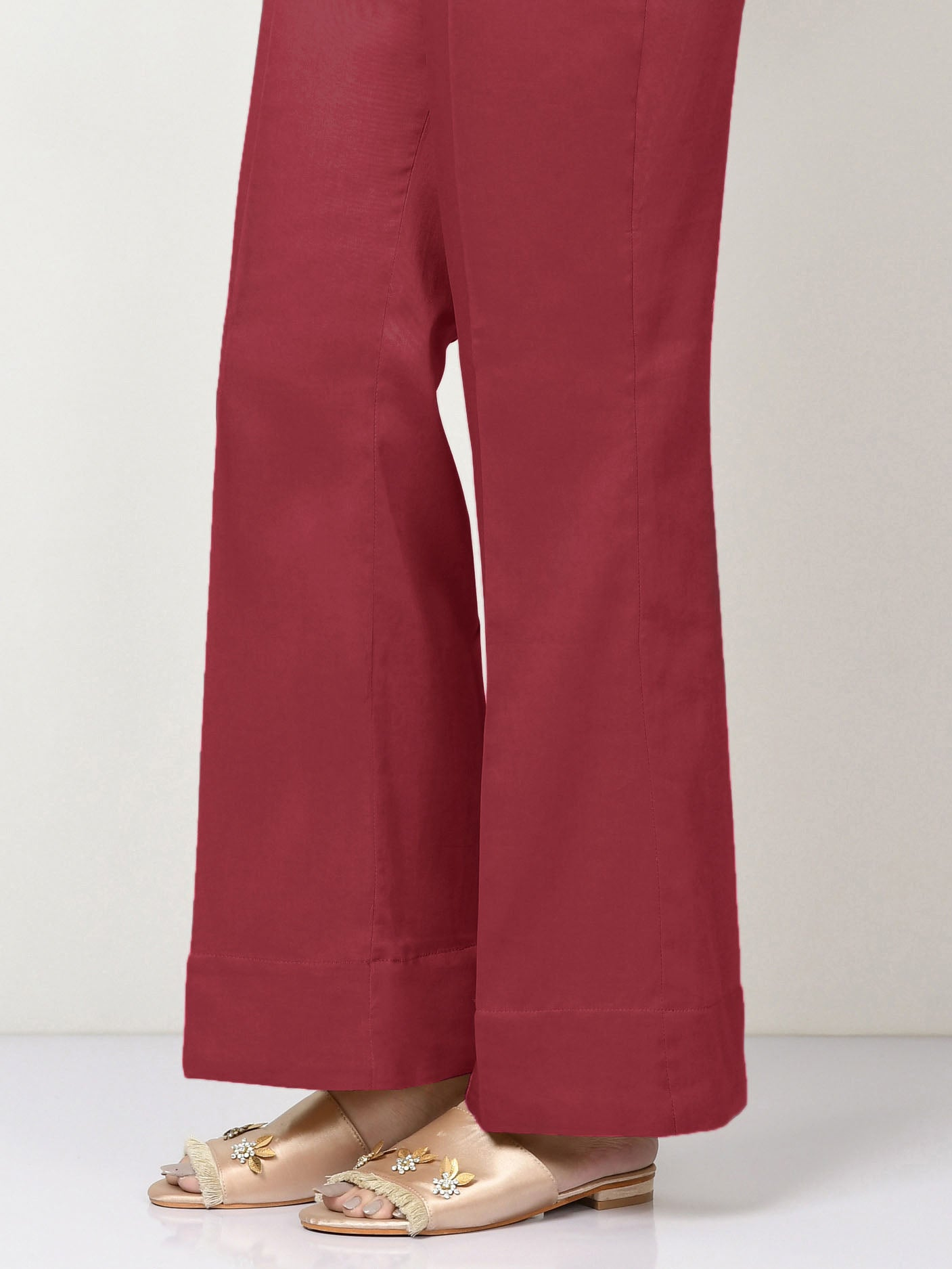 Unstitched Cambric Trouser - Red