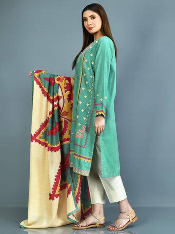 Embroidered Slub Khaddar Suit