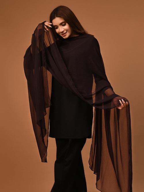 Chiffon Dupatta - Chocolate Brown