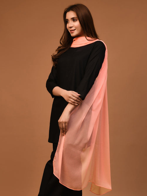 Chiffon Dupatta - Light Peach