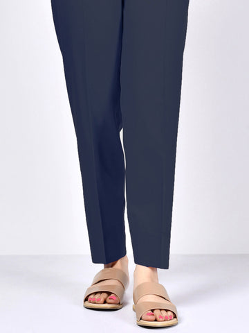 Satin Trousers - Navy Blue