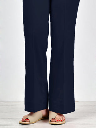 Unstitched Cambric Trouser - Dark Navy