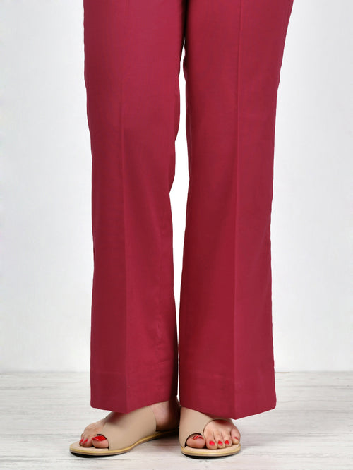 Bootcut Pants-Dark Red