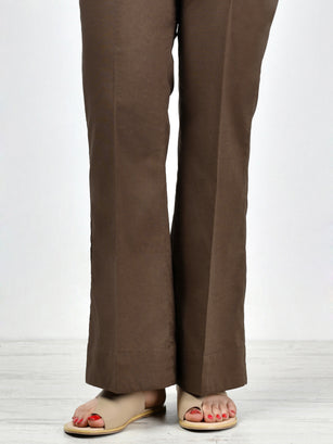 Unstitched Cambric Trouser - Chocolate