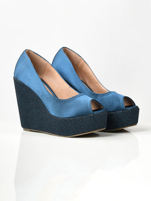 Satin Glitter Wedges - Blue
