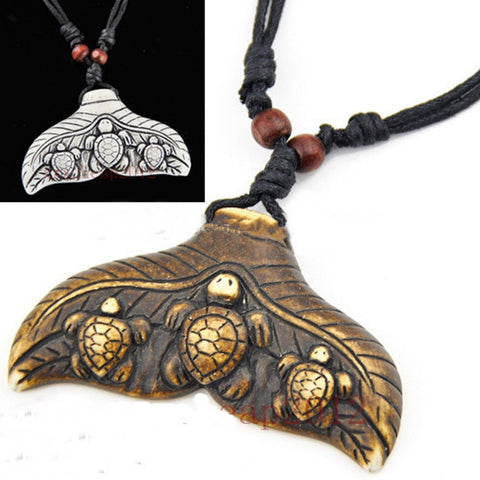 Cool Ethnic Tribal White Imitation Whale Tail Pendant Necklace BROWN