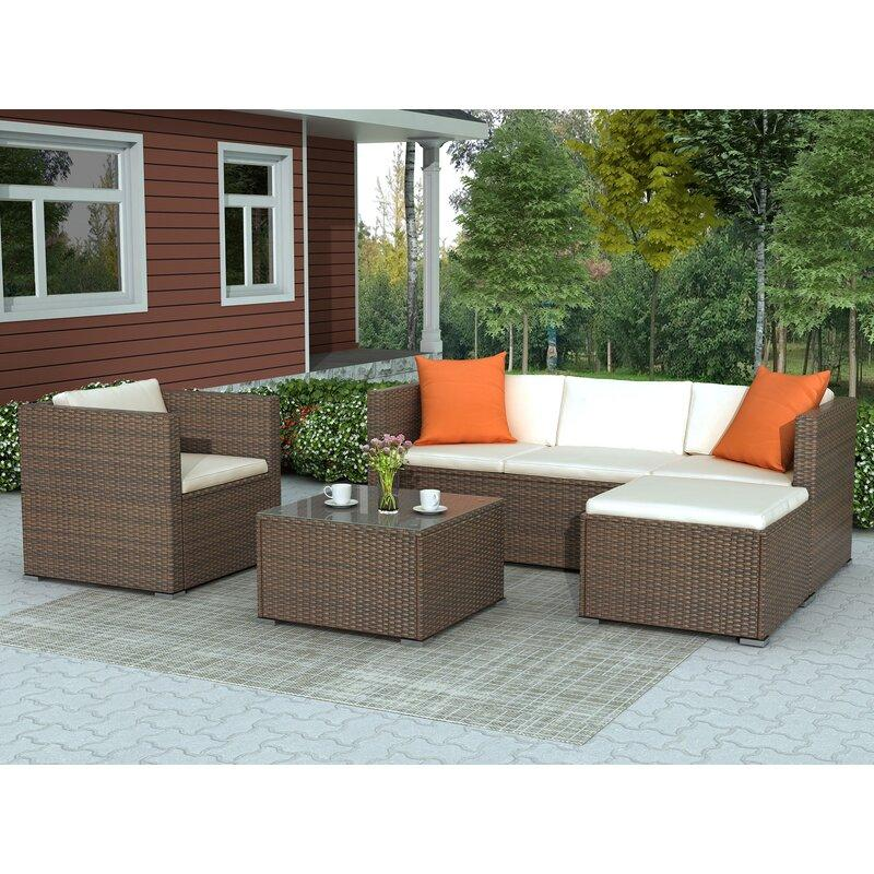 Kinwell Outdoor 4 Piece Rattan Sofa Seating Group With Cushions Beschan