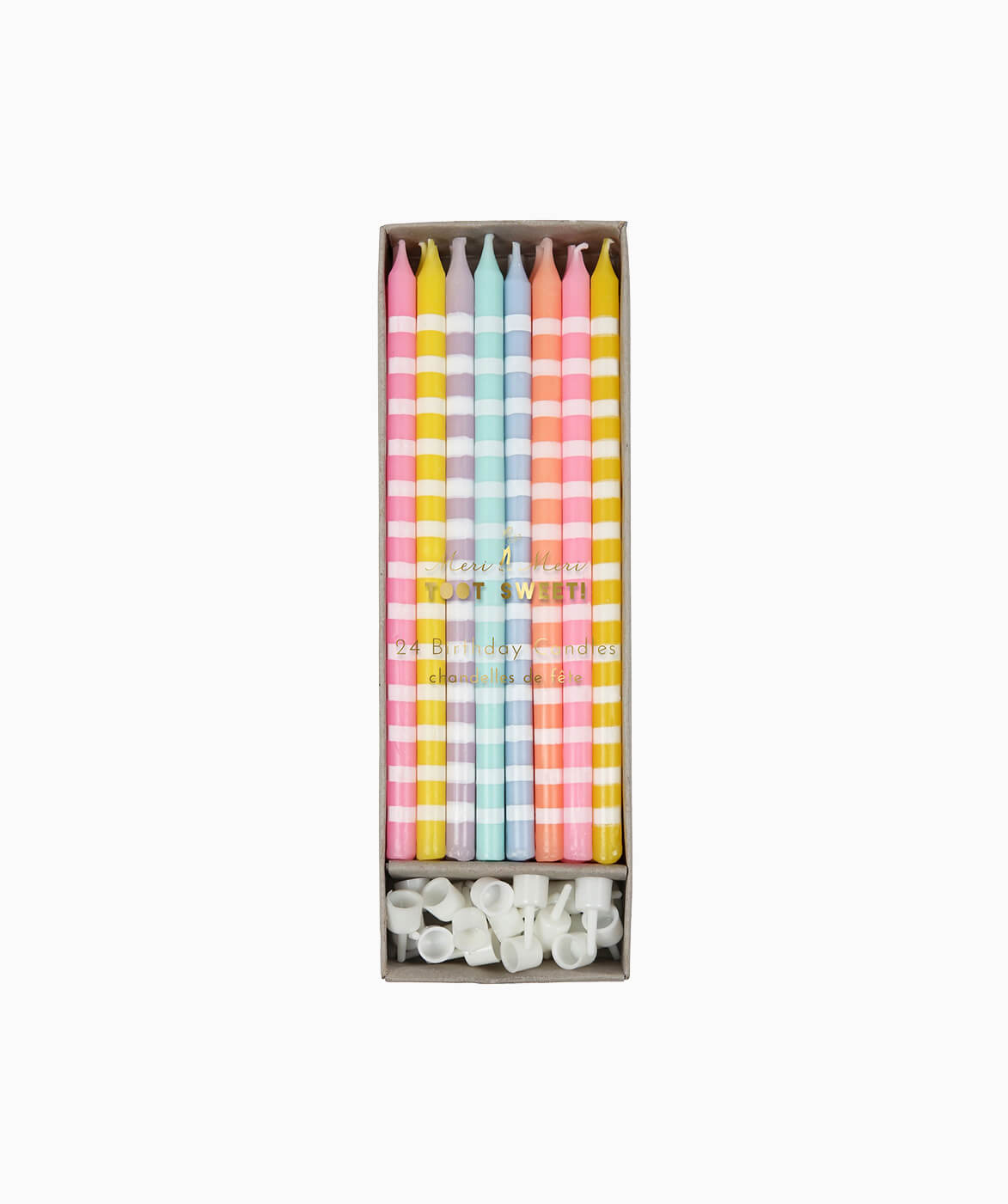 PASTEL STRIPED TALL CANDLES