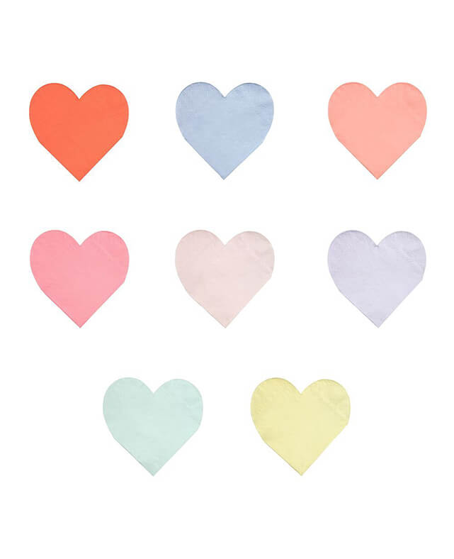 SMALL PASTEL HEART NAPKINS