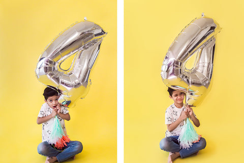 SILVER NUMBER BALLOON FOUR