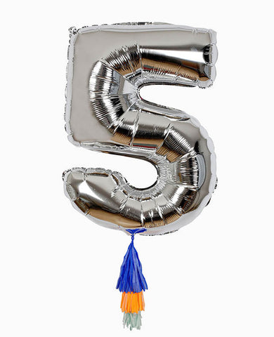 SILVER NUMBER BALLOON FIVE