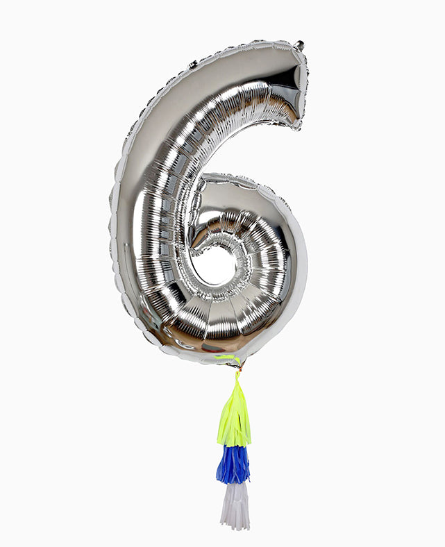 SILVER NUMBER BALLOON SIX