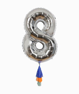SILVER NUMBER BALLOON EIGHT