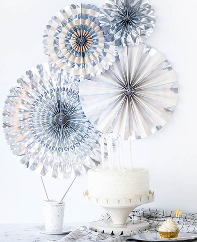 SILVER FOIL PARTY FANS (ONLY 2 LEFT IN STOCK)