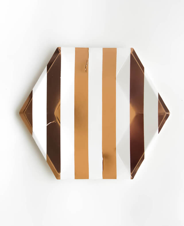 LARGE ROSE GOLD STRIPED PLATES