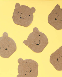 SMALL BEAR SHAPED NAPKINS