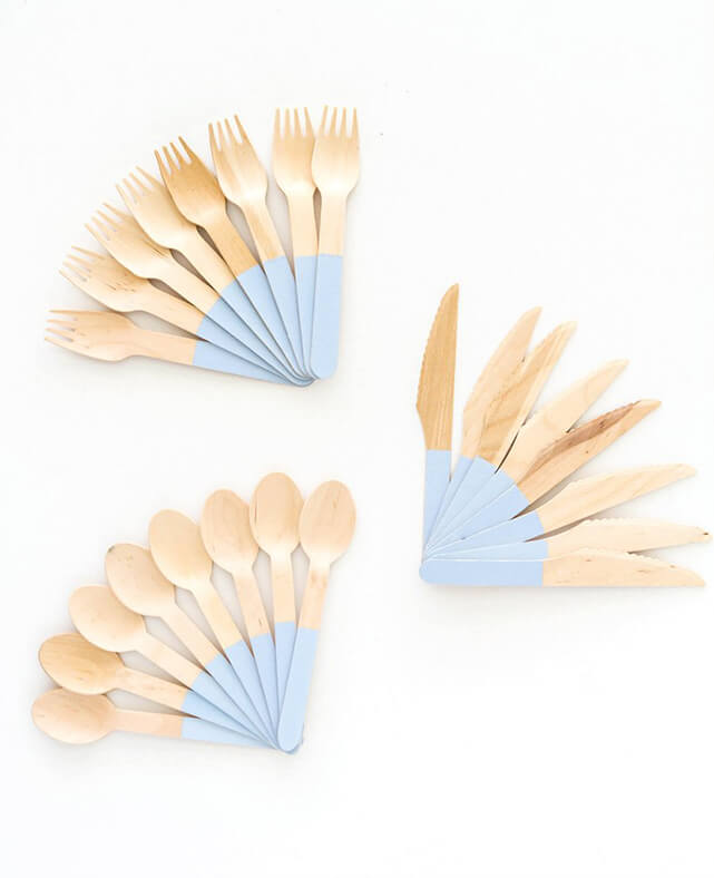 BLUE WOODEN CUTLERY SET