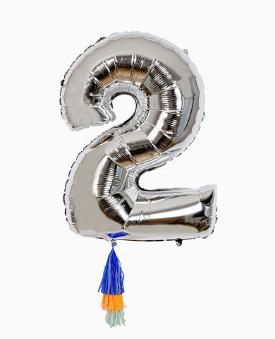 SILVER NUMBER BALLOON TWO