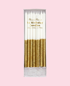 GOLD GLITTER DIPPED TALL CANDLES