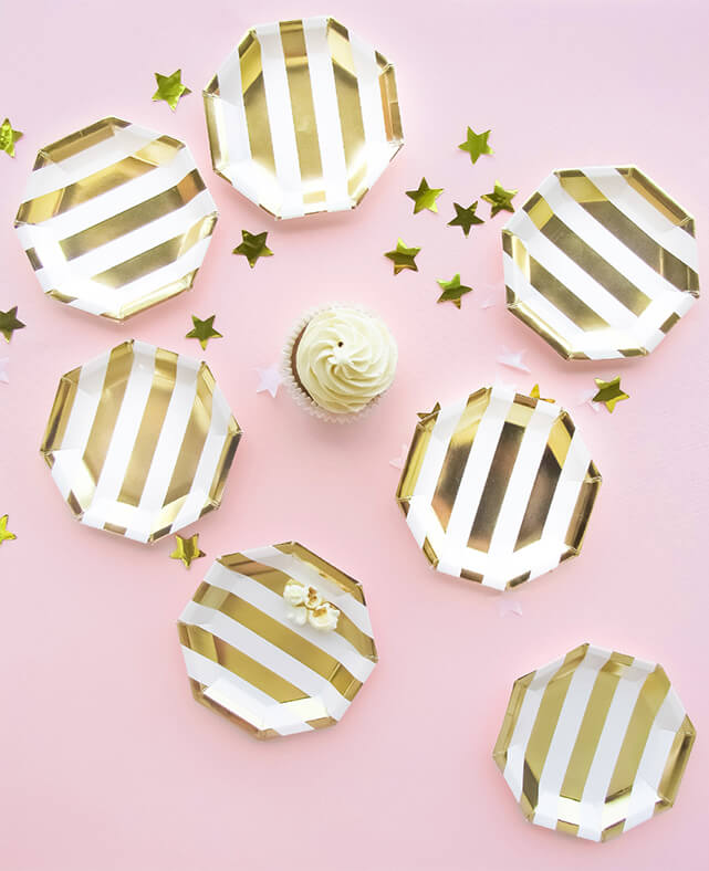 GOLD STRIPE CANAPE PLATES (ONLY 2 LEFT IN STOCK)