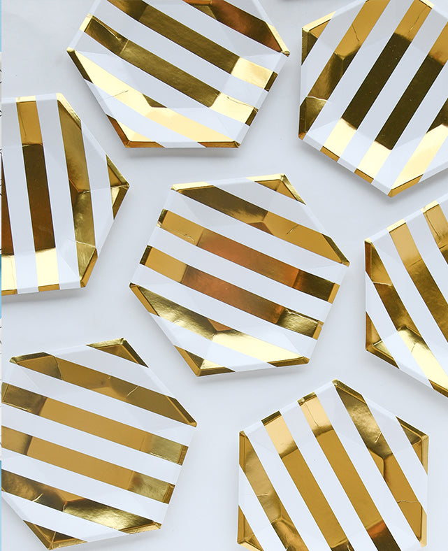 LARGE GOLD STRIPES PLATES ( ONLY 2 LEFT IN STOCK)