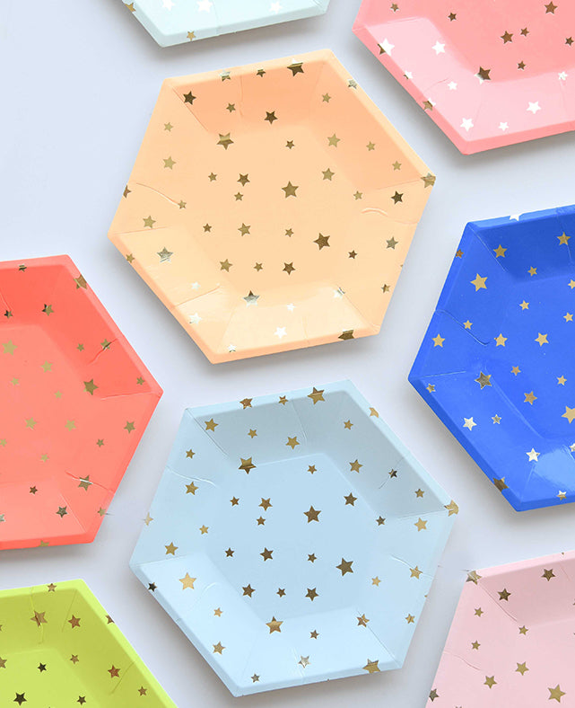 LARGE MULTICOLOR STARS PLATES