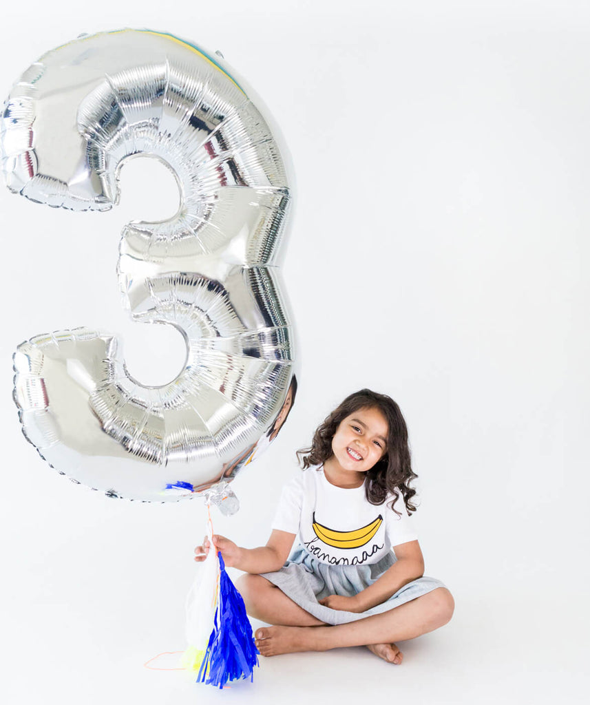 SILVER NUMBER BALLOON THREE