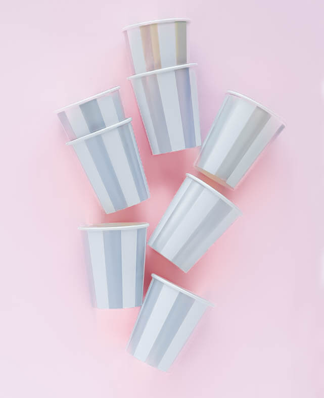 SILVER STRIPED CUPS