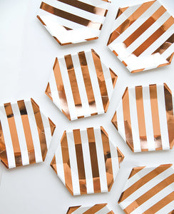 SMALL ROSE GOLD STRIPED PLATES