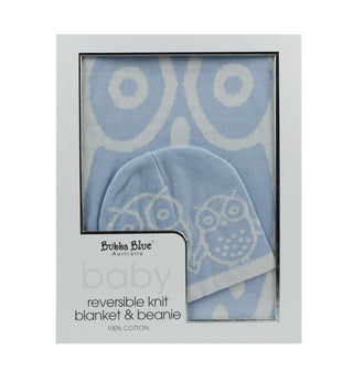 Bubba Blue Baby Owl Boy Reversible Knit Blanket & Beanie