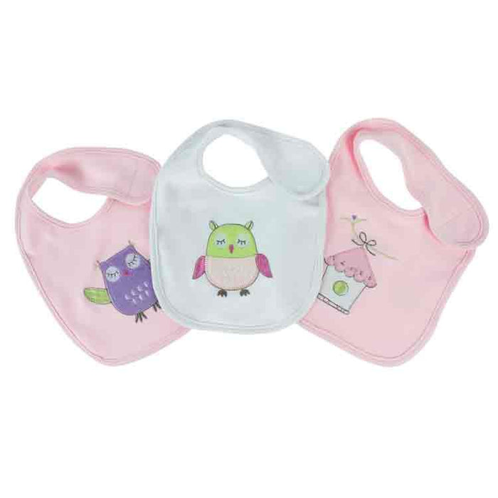 Bubba Blue Embroidered Baby Owl Girl 3 pc  Pack Bib Set