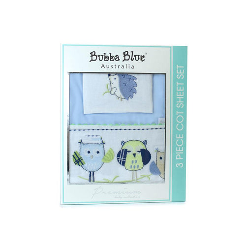 Bubba Blue Embroidered Baby Owl Boy Cot Sheet Set