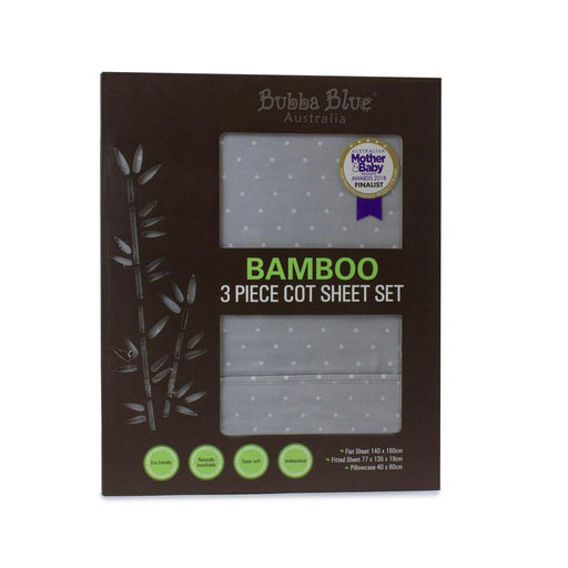 Bubba Blue Bamboo Grey 3 Piece Cot Sheet Set